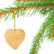 Christmas bauble on a fir tree branch isolated on white — Stock Photo