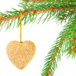 Christmas bauble on a fir tree branch isolated on white — Stock Photo #4147655