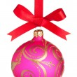 Christmas ball on a red ribbon isolated on white — Stock Photo #4290021