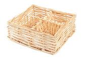 Decorative strawy basket isolated on white background — Stock Photo