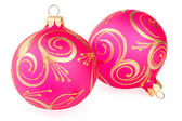 Two Christmas baubles on white background — Stock Photo