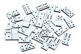 Domino pieces laying on white background randomly — Stock Photo