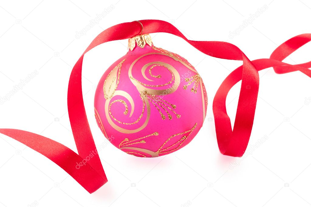 Christmas bauble with a red ribbon on white background — Stock Photo #4372407