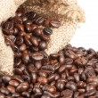 Coffee beans in canvas sack on white background — Stock Photo #4628814