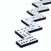 Domino pieces in a line or zigzag on white background — Stock Photo