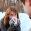 Winter date in the park — Stock Photo