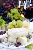 Grape, wine and cheese — Stock Photo