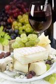 Grape, wine and cheese — Stock Photo