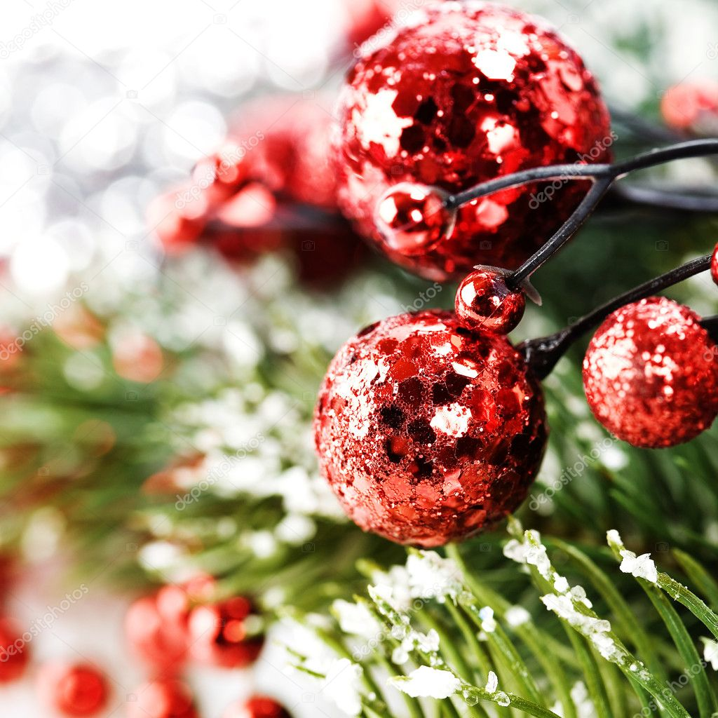 Bright christmas composition with christmas balls — Stock Photo #4097577