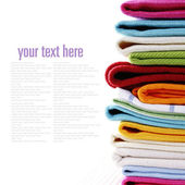 Pile of linen kitchen towels — Stock Photo