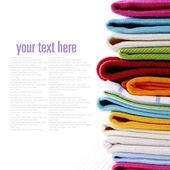 堆的亚麻厨房毛巾 — 图库照片