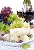 Grape, wine and cheese — Photo