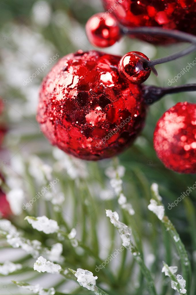 Bright christmas composition with christmas balls — Stok fotoğraf #4264911