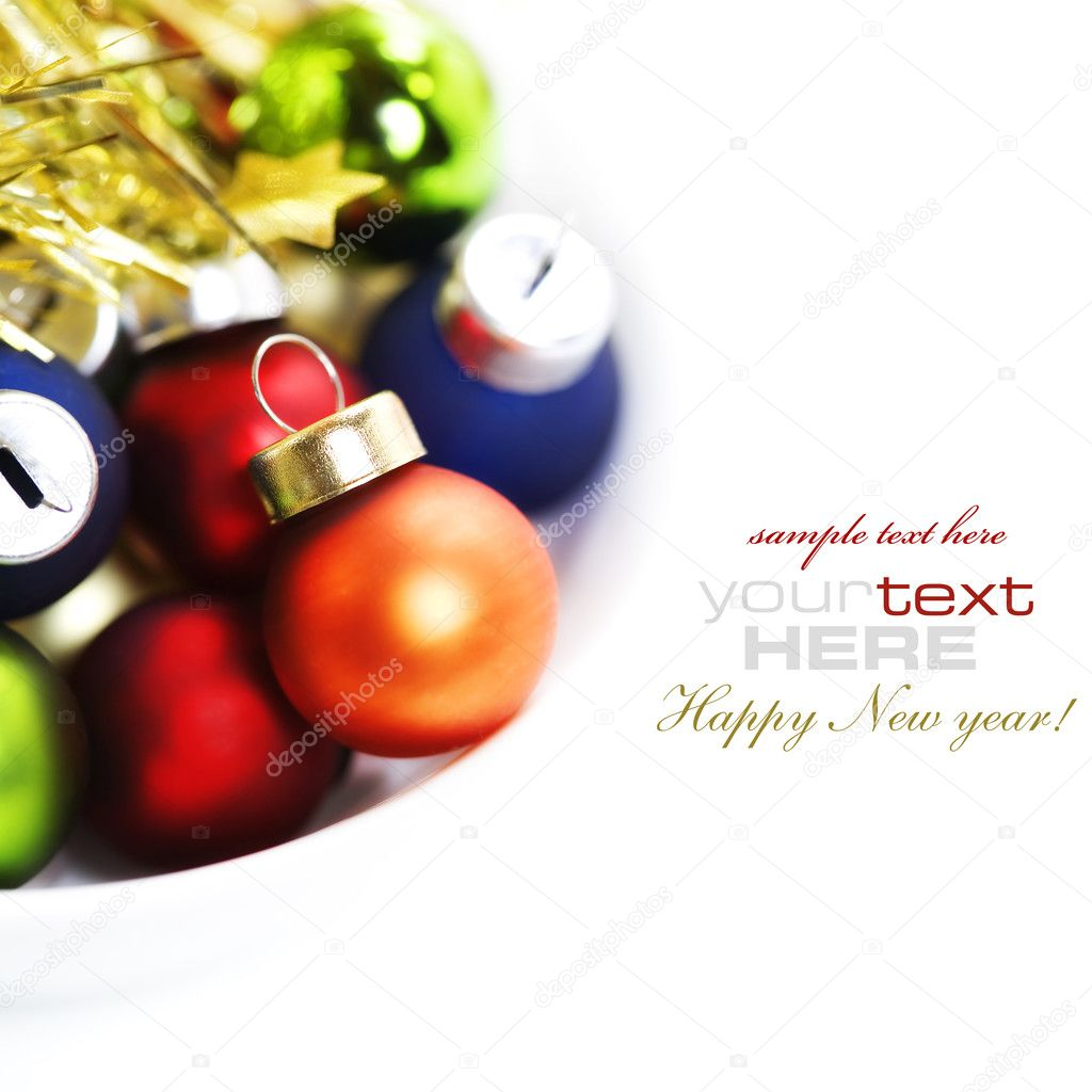 Colorful collection of Christmas Balls with sample text — Stock fotografie #4264920