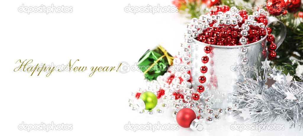 Bright christmas composition with sample text — Stock Photo #4264934
