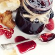 Croissants with jam (Valentine concept) — Stock Photo #4743871