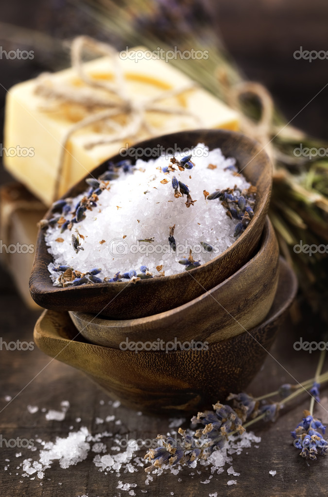 Spa salt, lavender and soaps (spa and body care background)  Stock Photo #4975179
