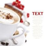 koffie en chocolade taart — Stockfoto