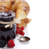 Croissants with jam — Stock Photo