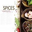 Stock Photo: Wooden bowls with fresh herbs and spices