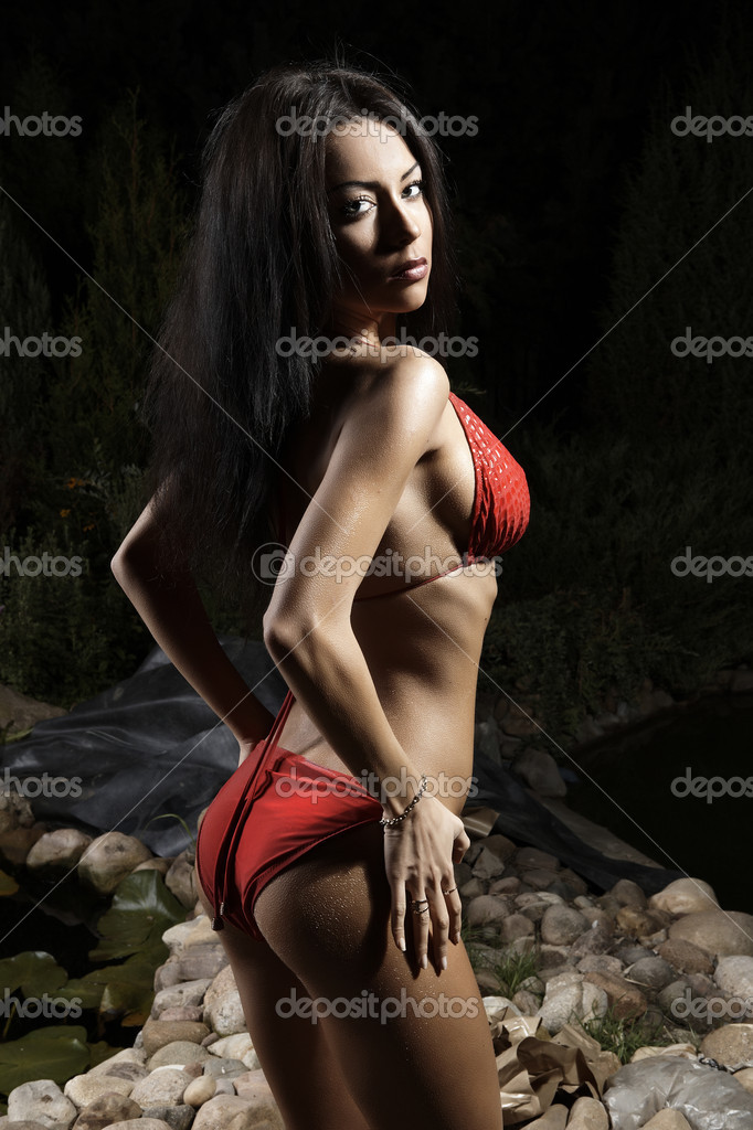 Beautiful healthy fit woman wearing red bikini  Stock Photo #4072012