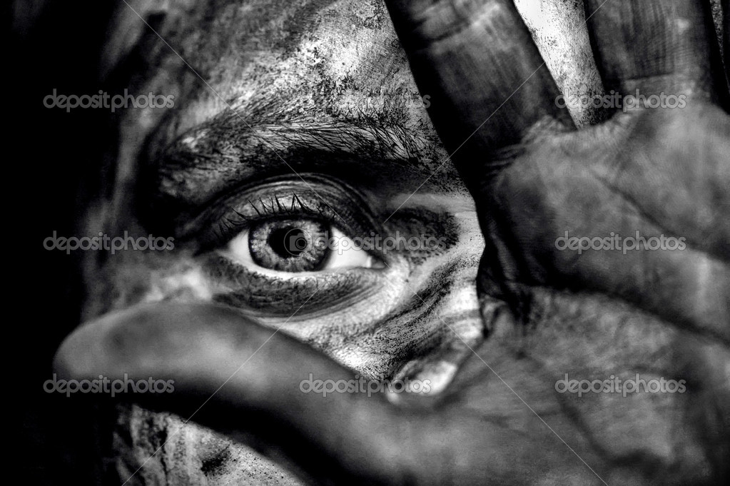 Surreal dark portrait of someone whos covering his dirty face. — Stock Photo #5007965