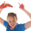 Malicious woman has threatened shoes — Stock Photo #4399779