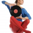 Young woman with vinyl record — Stock Photo #4719037