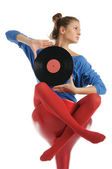 Young woman with vinyl record — Stock Photo