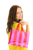 Happy woman with shopping bag — Stock Photo