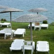 Sunbeds and umbrellas on grass in the hotel area — Stock Photo #5013828