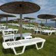 Sunbeds and umbrellas on grass in the hotel area — Stockfoto