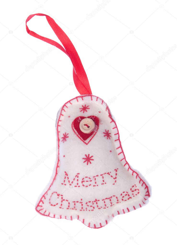 Merry Christmas wishes, tree hanger decoration (isolated on white background) — Stock Photo #4451239
