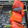 Grilling red peppers — Stockfoto