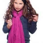liten flicka med glass — Stockfoto