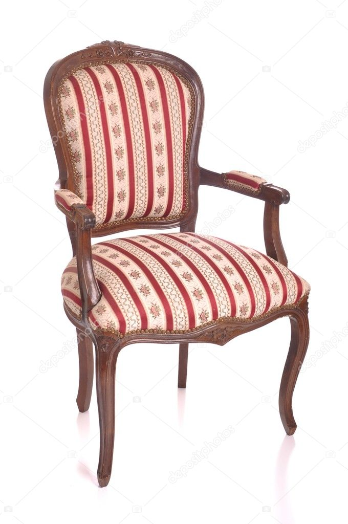 Beautiful antique padded chair isolated on white background — Stock Photo #5362535
