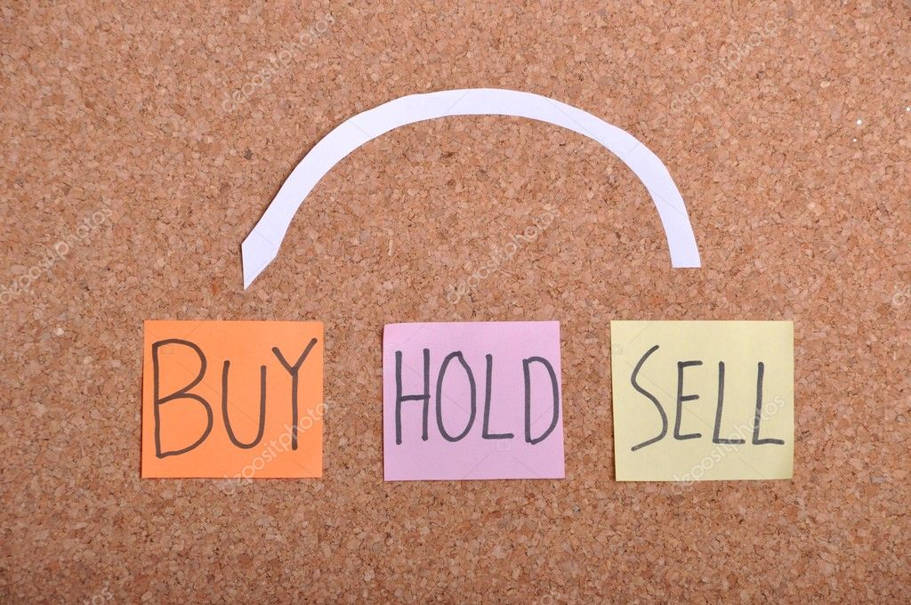 Business concept, buy hold sell on a bulletin board (real state or stock market) — Stock Photo #5362668