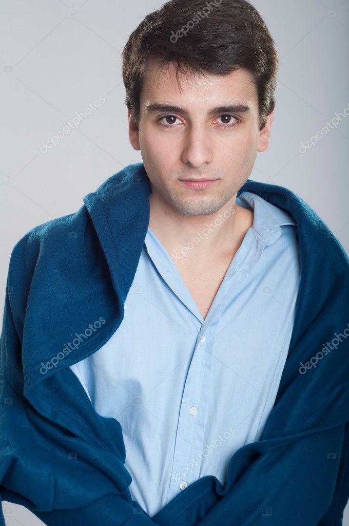 Portrait of a sick young business man with blanket — Stock Photo #5362988
