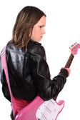 十几岁的女孩与吉他 — 图库照片
