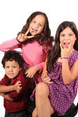 Funny face and gesture kids — Stock Photo