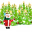 Christmas trees and snowman — Stock Photo