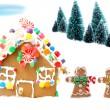 Gingerbread house with men and trees — Stock Photo