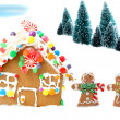 Stock Photo: Gingerbread house with men and trees