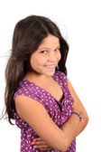 Pretty smiling eight year old girl — Stock Photo