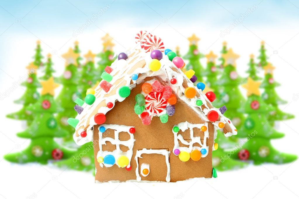 Gingerbread House Cartoon With Gingerbread House in