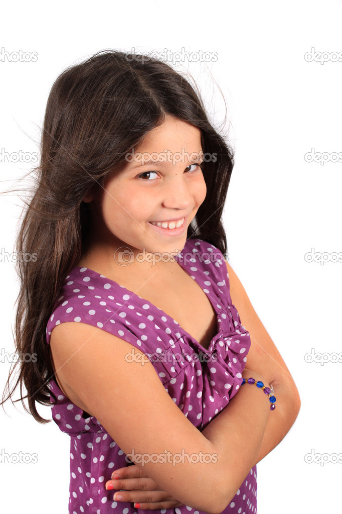 Pretty Smiling Eight Year Old Girl Stock Photo