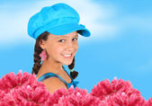 Pretty 10 year old spring girl — Stock Photo