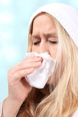 Woman with sniffles or sneezing — Stock Photo