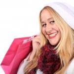 冬の摩耗のブロンドの女性の買物客 — ストック写真