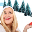 Stock Photo: Blonde woman shows present